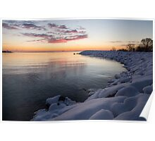Snowy Pink Dawn on the Lake Poster