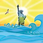Cool Colorful New York Statue of Liberty by silvianeto
