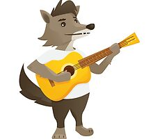Cute wolf playing music with guitar by berlinrob