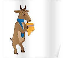 Cartoon goat playing music with panpipe Poster