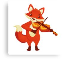 Funny fox playing music with violin Canvas Print