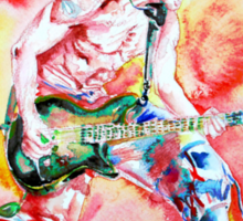 EDDIE VAN HALEN PLAYING and JUMPING watercolor portrait Sticker