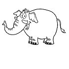 Black and white cartoon elephant by berlinrob