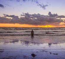 Autumn sunset at Crosby Beach by Paul Madden