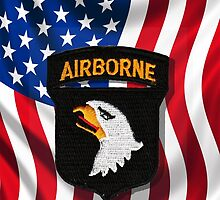 101st Airborne - American Flag - Cell Phone Case by Buckwhite