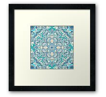 Gypsy Floral in Teal & Blue Framed Print