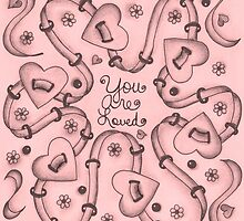 You Are Loved (black on pink)  by Dwyanna  Stoltzfus