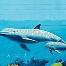 Dolphins graffiti mural by yurix