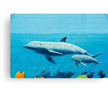 Dolphins graffiti mural Canvas Print