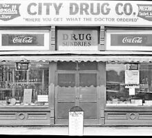 Old School Drug Store Circa 1928 Tennessee Dyersburg Poster, Prints, Cards, Stickers, Pillows by 8675309