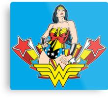 Wonder Woman on Blue Metal Print