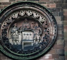 Detail of roundel on West Facia Cathedral Hereford England 198405150018 by Fred Mitchell