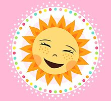 Happy, laughing sun inside colorful polka dot border by MheaDesign