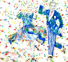 FRED ASTAIRE and GINGER ROGERS watercolor portrait by lautir