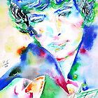 BOB DYLAN playing the GUITAR - watercolor portrait.1 by lautir