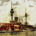 Warship, Algiers, Algeria in the 19th century by Dennis Melling