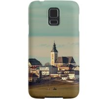 Small village skyline with mint sky | landscape photography Samsung Galaxy Case/Skin