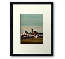 Small village skyline with mint sky | landscape photography Framed Print