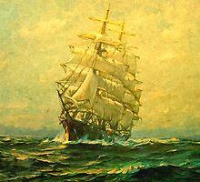 Sailing ship crosses the Atlantic by markmonty