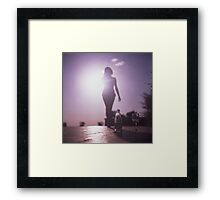 Young lady by pool color film Hasselblad medium format  fine art analog female nudes and erotica Framed Print