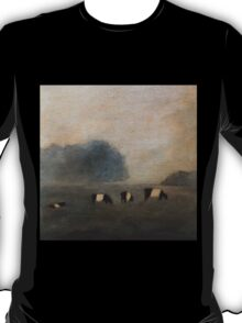 Black and White Striped Cows in Pasture T-Shirt