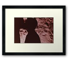 Gay wedding grooms kiss silhouette black and white film handmade ra-4 print fine art analog wedding photo Framed Print