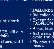 IMPORTANT DIFFERENCE BETWEEN TIMELORD AND DALEK Sticker
