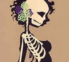 Skeleton with purple & green flowers by Kimieye
