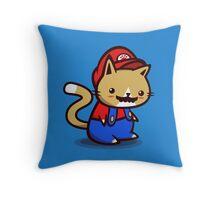 It's-a-me! Meow-rio! Throw Pillow