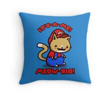 It's-a-me! Meow-rio! (Text ver.) Throw Pillow