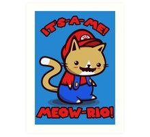 It's-a-me! Meow-rio! (Text ver.) Art Print