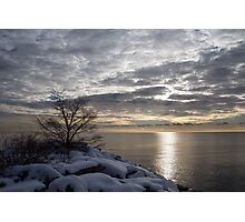 Lakeside Silver – Winter Morning Light Photographic Print