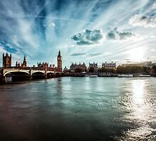 Elizabeth Tower and Thames by edwhyphoto