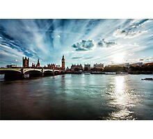 Elizabeth Tower and Thames Photographic Print