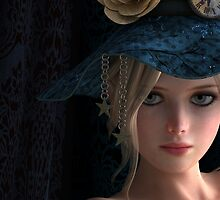 Steampunk girl wearing a blue hat by Britta Glodde