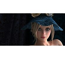 Steampunk girl wearing a blue hat Photographic Print