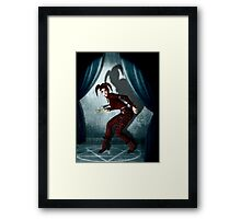 Mysterious jester in abandoned theatre Framed Print