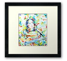JOAN BAEZ playing - watercolor portrait Framed Print