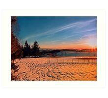 Colorful winter wonderland sundown IV | landscape photography Art Print