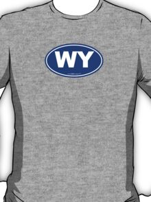 Wyoming WI Euro Oval BLUE T-Shirt