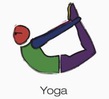 Painting of bow yoga pose with yoga text. by Mindful-Designs