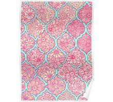 Moroccan Floral Lattice Arrangement - pink Poster
