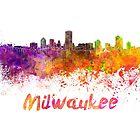 Milwaukee skyline in watercolor by paulrommer