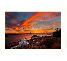One more sunset in Milos Art Print
