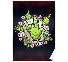 Cartoon Zombie Hands Poster