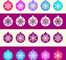 Set of Christmas Balls with White Snowflakes in Shades of Blue, Lilac and Radiant Orchid on Striped Background by amovitania
