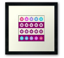 Set of Christmas Balls with White Snowflakes in Shades of Blue, Lilac and Radiant Orchid on Striped Background Framed Print
