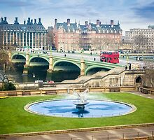 Water Fountain and London Bus by Sue Martin