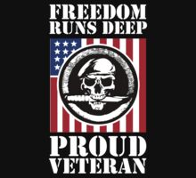 Amazing Veteran 'Freedom Runs Deep, Proud Veteran' Limited Edition T-Shirt by Albany Retro