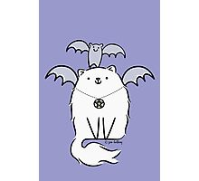 Fluffy White Witch's Cat with Bat Photographic Print